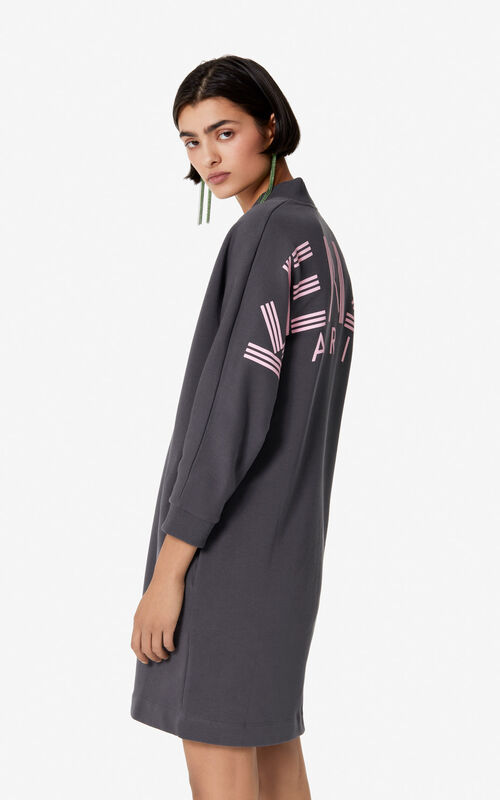 ANTHRACITE KENZO Logo sweatshirt dress for women