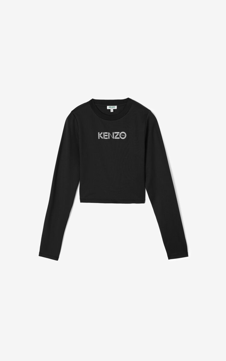 BLACK Cropped KENZO Logo T-shirt for women