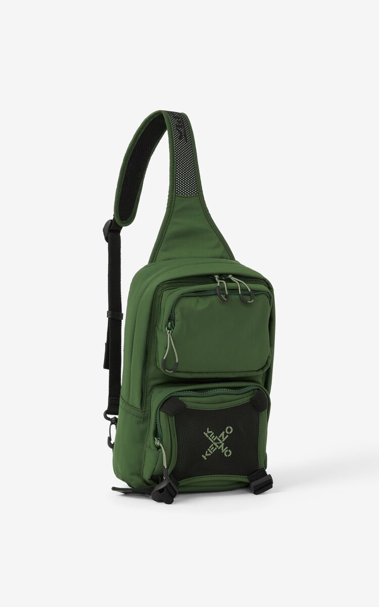 DARK KHAKI KENZO Sport backpack with strap  for men