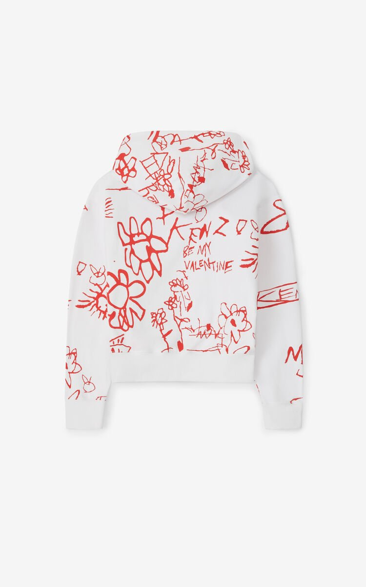 WHITE Valentine's Day Capsule 'Be my Valentine' hooded sweatshirt for men KENZO