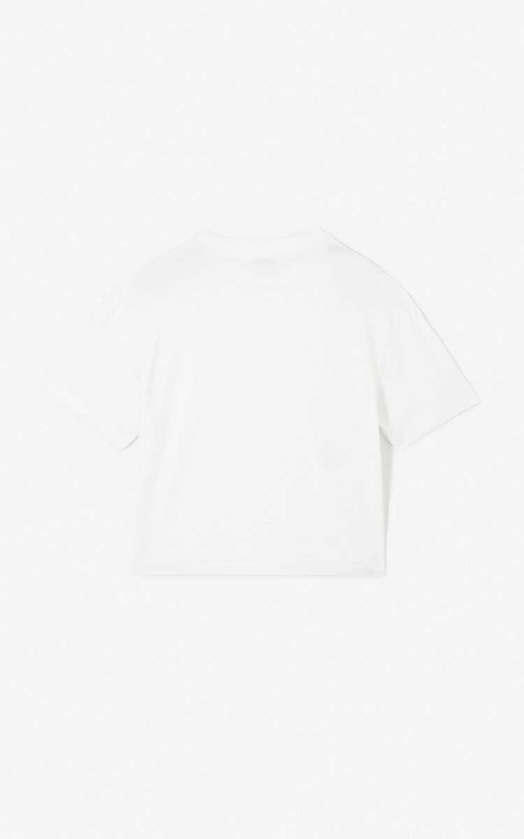 WHITE Boxy KENZO logo t-shirt for women