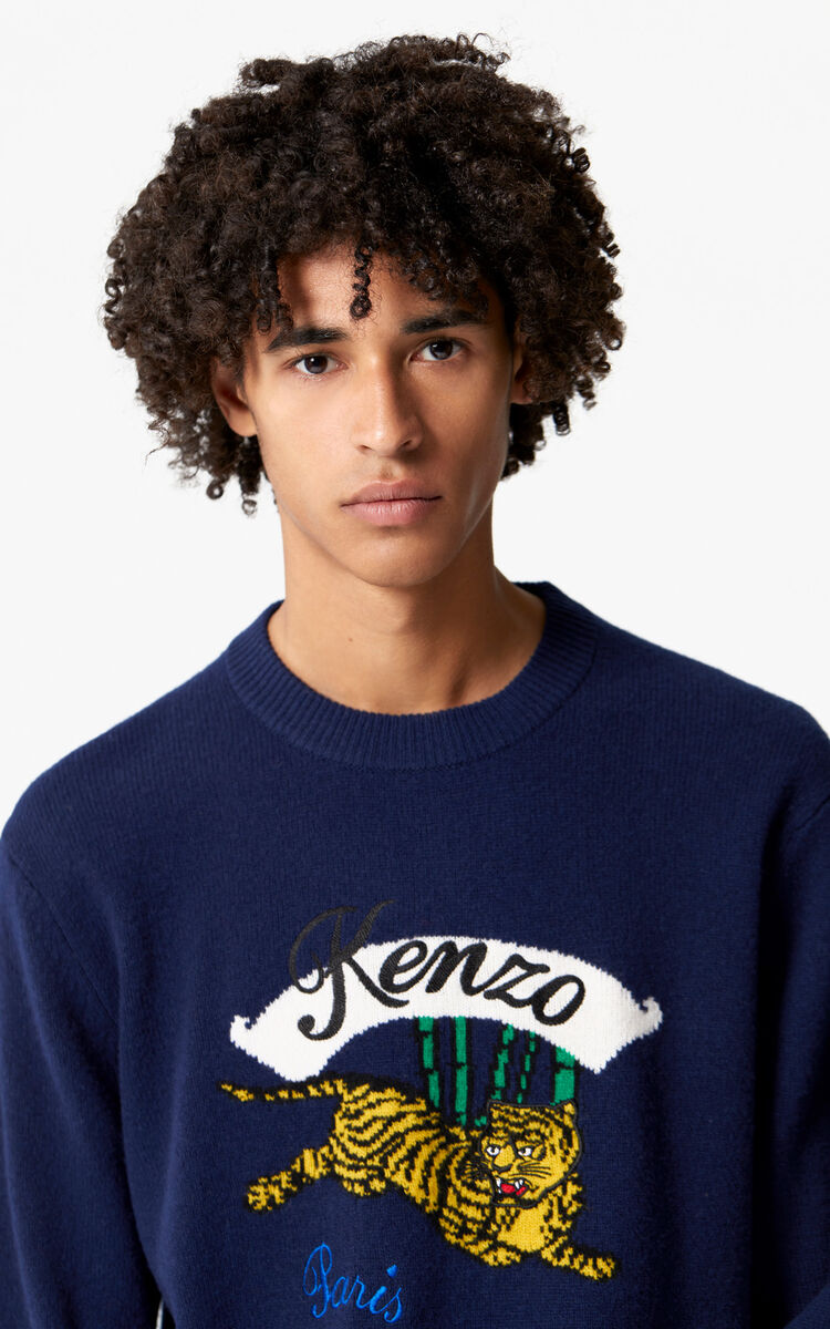 MIDNIGHT BLUE 'Bamboo Tiger' jumper 'Golden Week capsule' for men KENZO