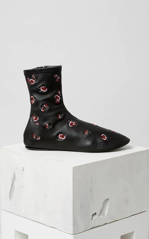 BLACK 'May Flowers' Embroidered Boots for women KENZO
