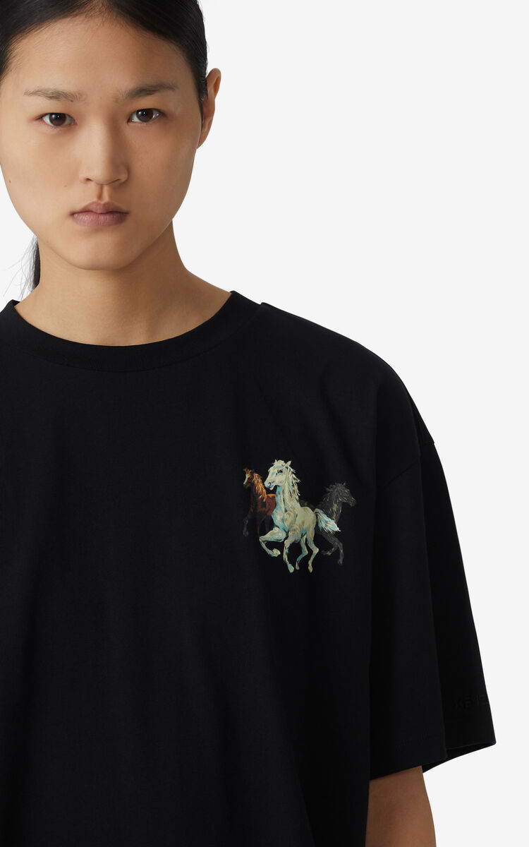 BLACK T-shirt oversize 'Chevaux KENZO' for women