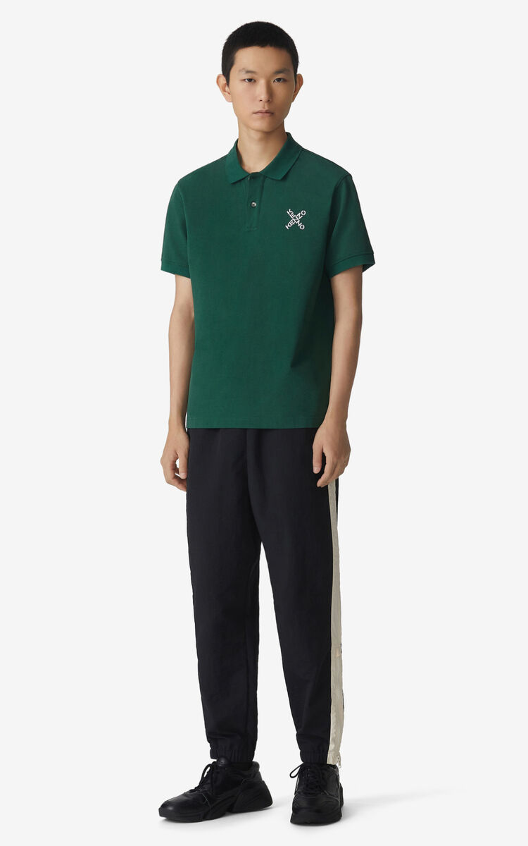 GREEN KENZO Sport 'Little X' polo shirt for men
