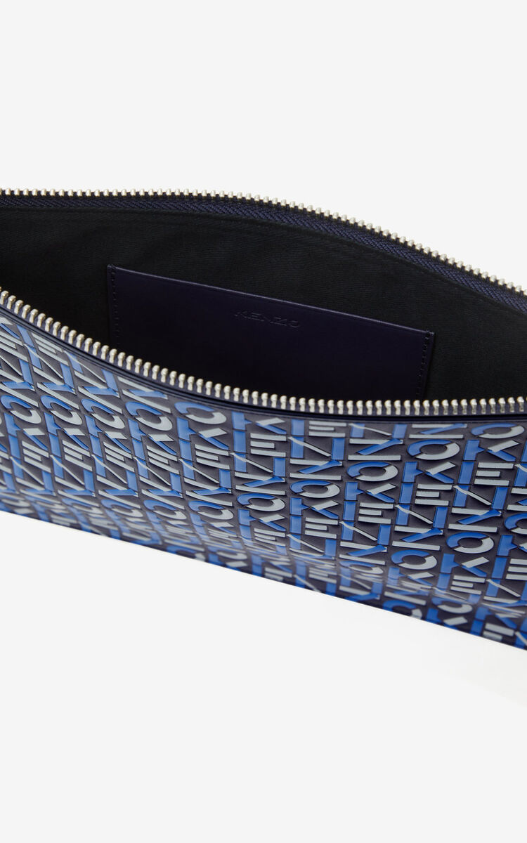 MIDNIGHT BLUE Large monogram leather clutch  for men KENZO
