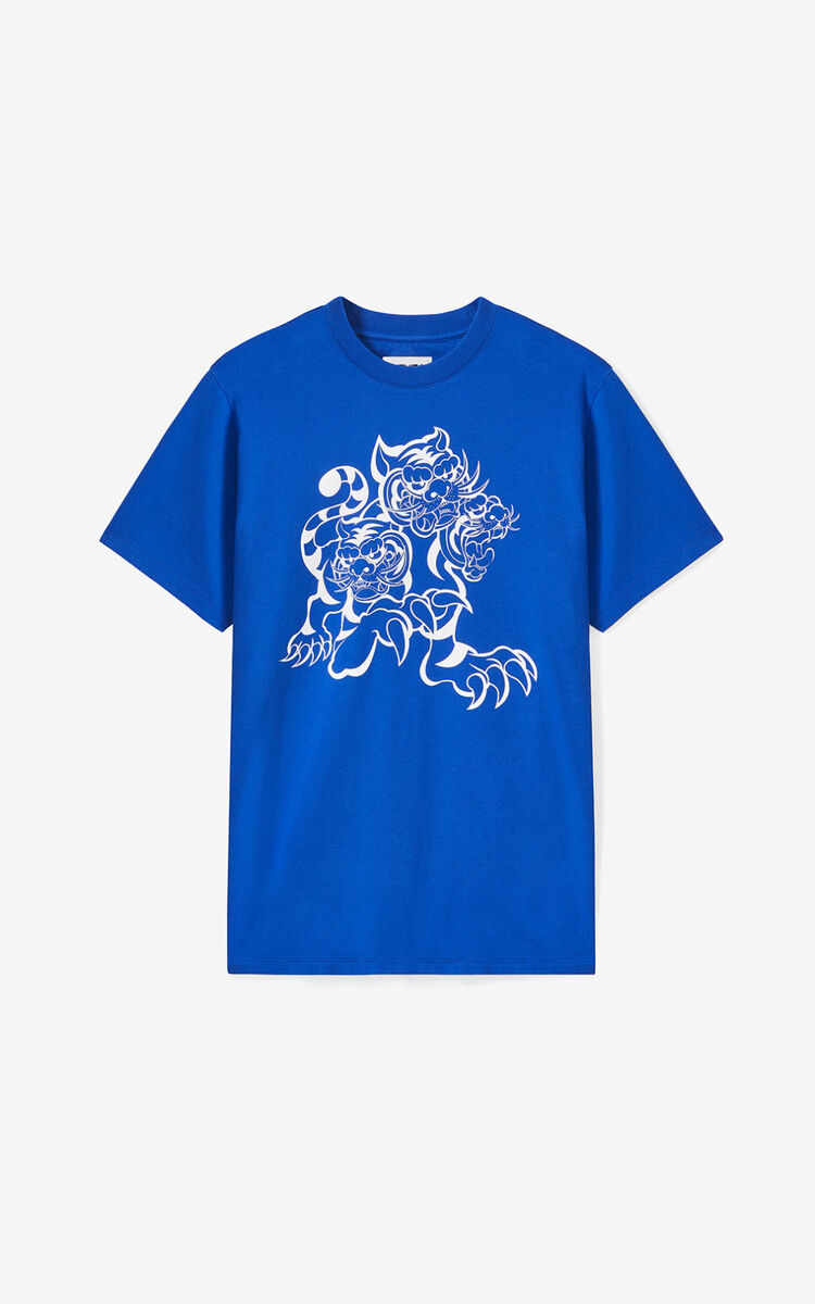 ROYAL BLUE KENZO x KANSAIYAMAMOTO 'Three Tigers' T-shirt for women