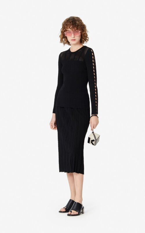 BLACK Openwork jumper  for women KENZO