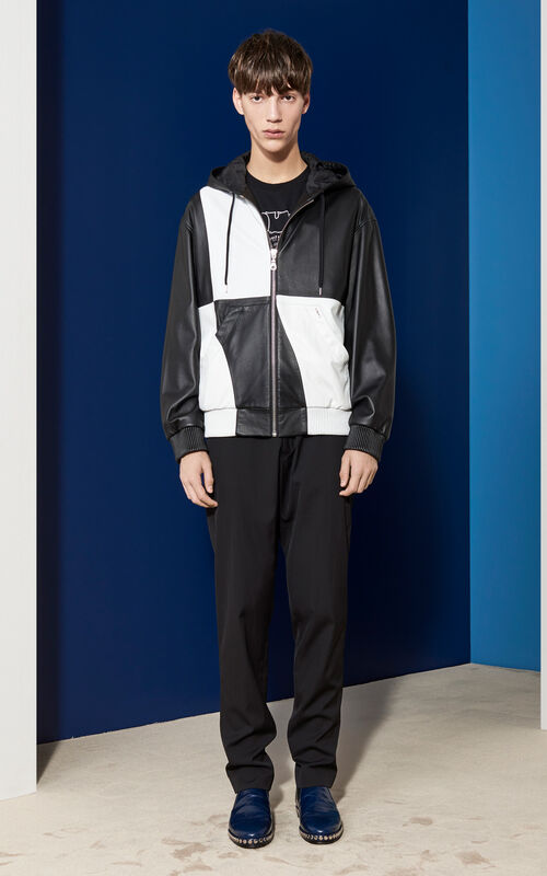 Patched Leather Bomber, BLACK, KENZO