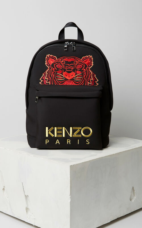 BLACK 'Chinese NY Capsule Collection' Large Tiger Neoprene Backpack for unisex KENZO