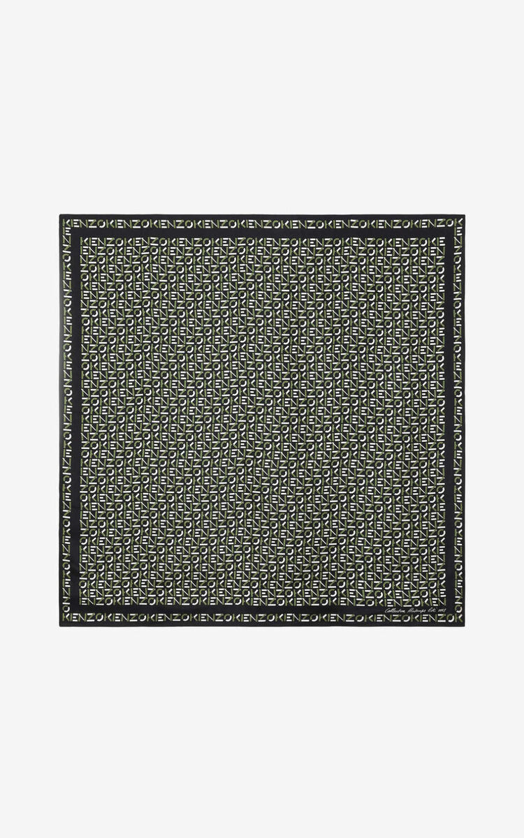 BLACK KENZO monogrammed silk square for unisex