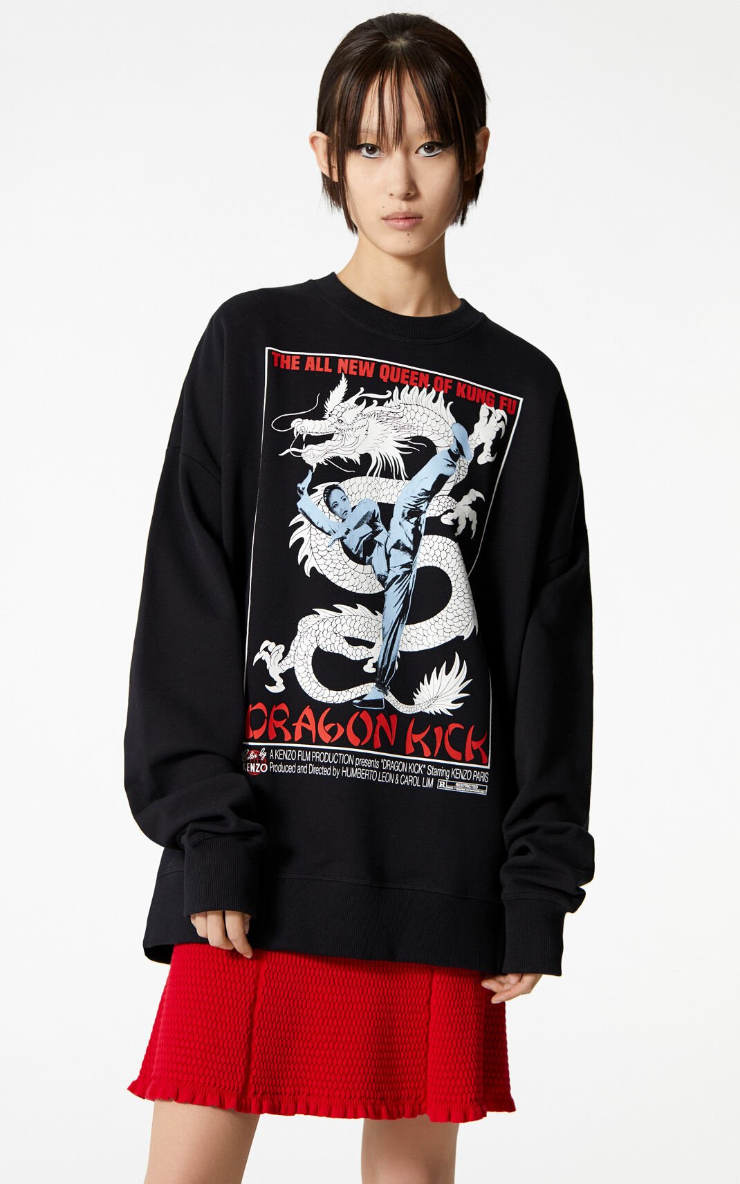 BLACK 'Dragon Kick' oversized sweatshirt for women KENZO