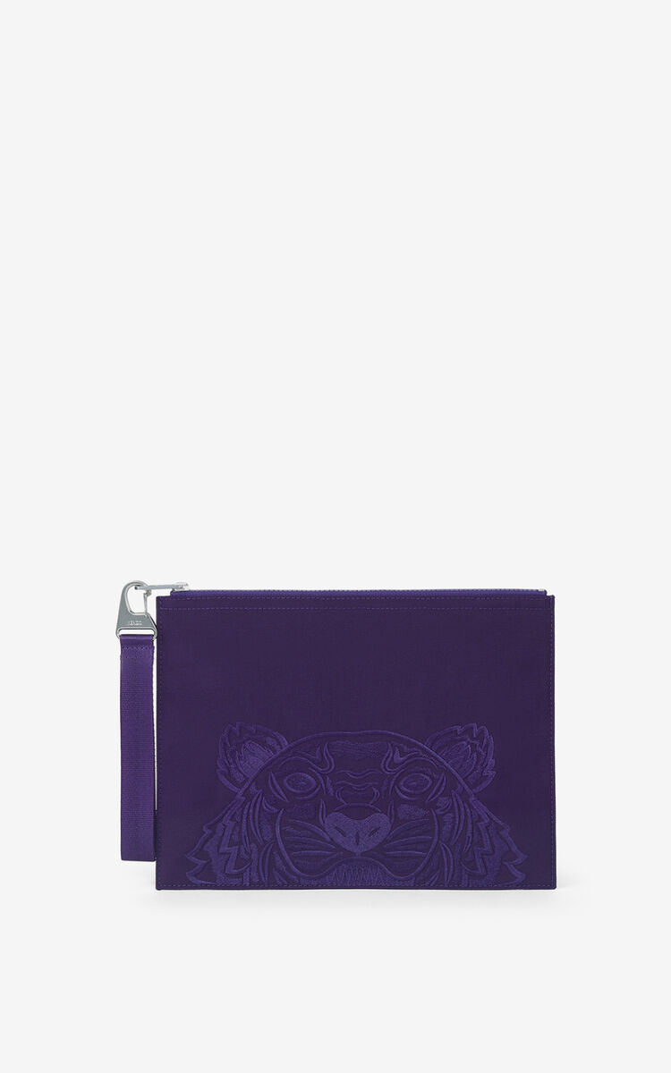 AUBERGINE Large canvas Kampus Tiger pouch   for unisex KENZO