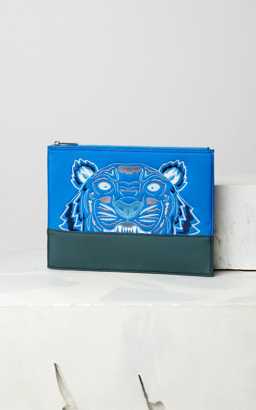 FRENCH BLUE Bicolore Tiger clutch in neoprene for men KENZO