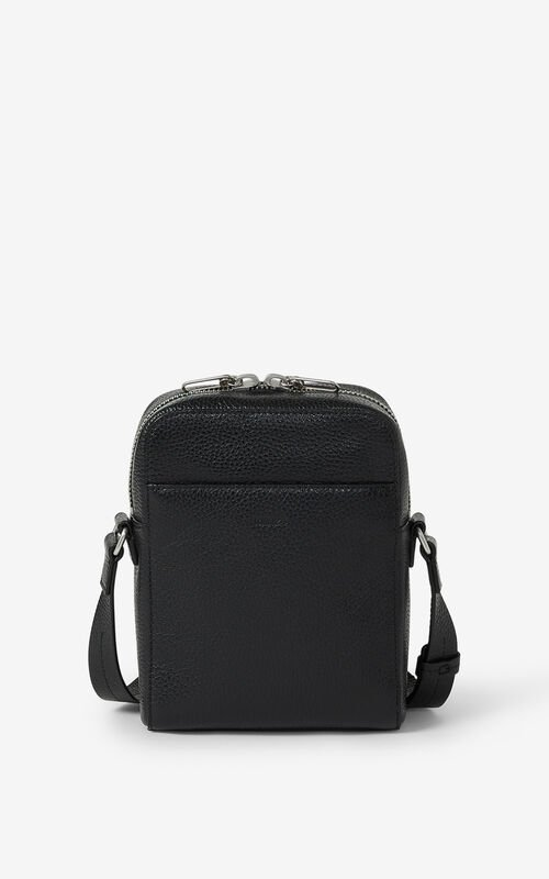 BLACK KENZO Imprint grained leather shoulder bag for unisex