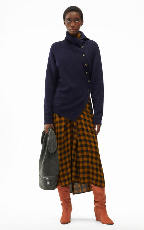 BLUE BLACK Tiger Crest wool button-down sweater for women KENZO