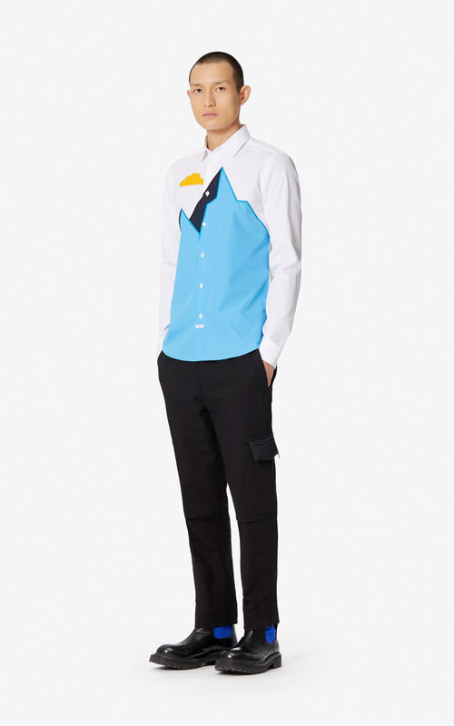 WHITE Slim fit 'Mountain' shirt for men KENZO