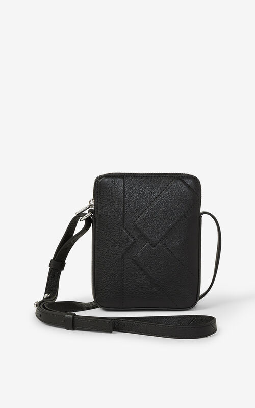 BLACK Leather Kube phone case with long strap for unisex KENZO