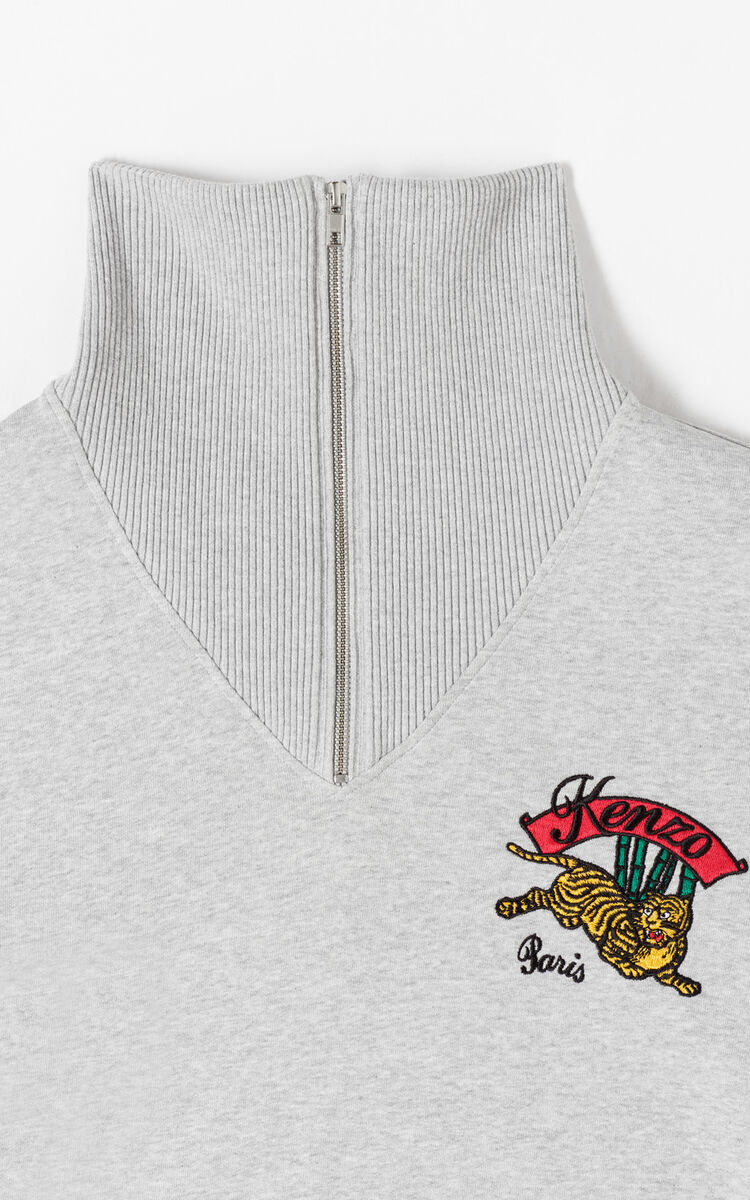 PEARL GREY 'Jumping Tiger' sweatshirt with zipped collar for women KENZO