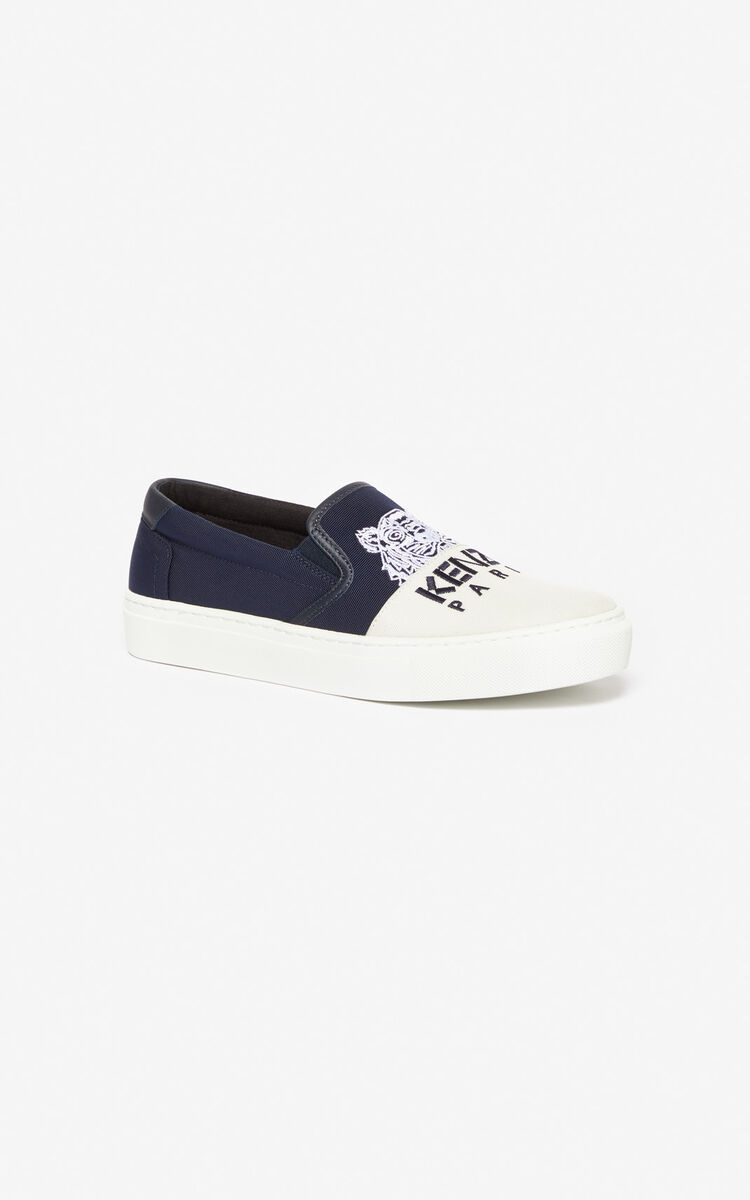 NAVY BLUE K-Skate 'Colorblock Tiger' slip-ons for women KENZO
