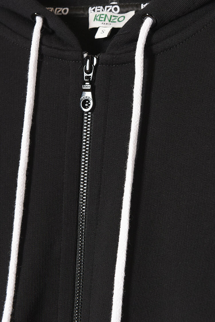 BLACK KENZO Logo Zipped Hoodie for women