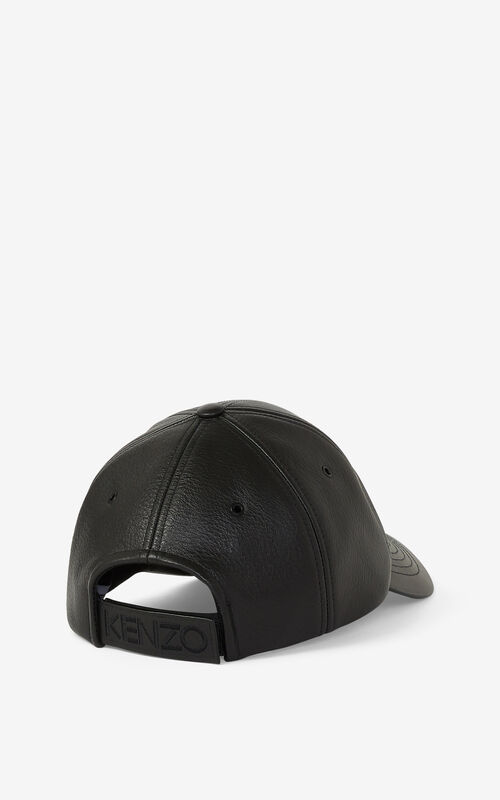 BLACK Leather Kampus Tiger cap for unisex KENZO