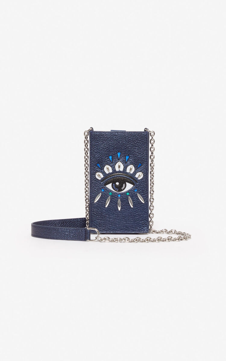 NAVY BLUE Phone Holder on Chain 'Kontact' Eye  for unisex KENZO