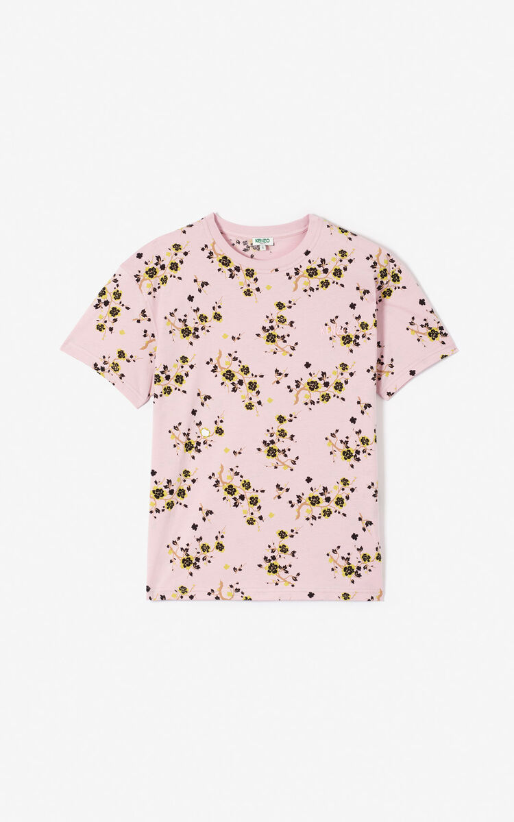 PASTEL PINK 'Cheongsam Flower' t-shirt for women KENZO