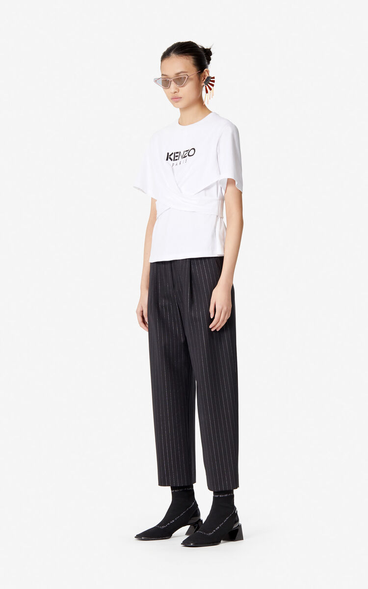 WHITE KENZO Paris cable stitch t-shirt for women