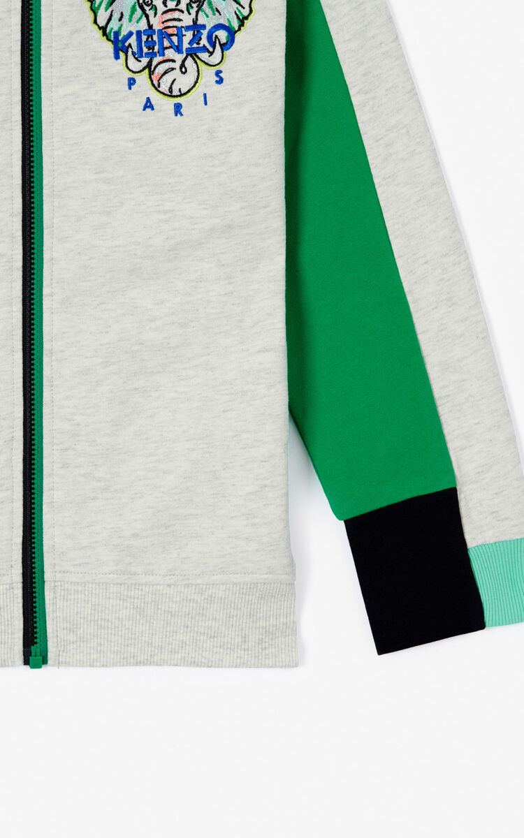 PALE GREY 'Disco Jungle' zipped sweatshirt for men KENZO