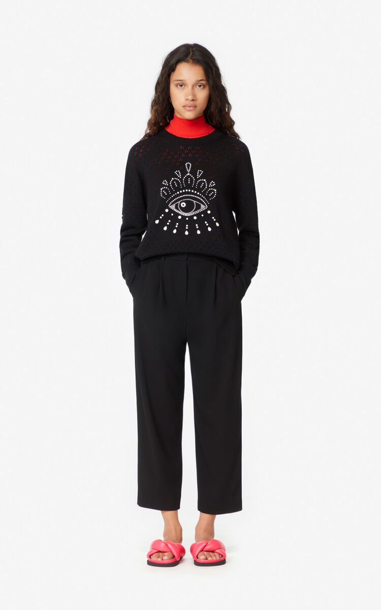 BLACK Openwork Eye jumper for women KENZO