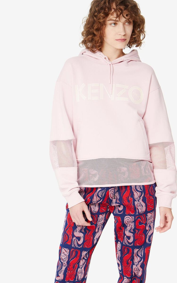 FADED PINK KENZO Logo hooded sweatshirt for women
