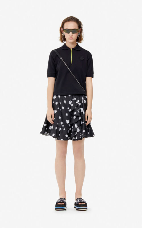 BLACK 'Roses' ruffled skirt for women KENZO