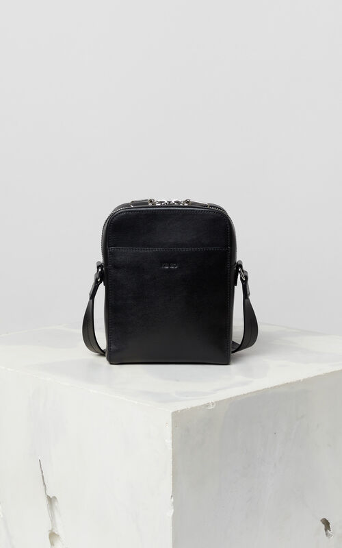 BLACK Cross-body KENZO Logo bag for men