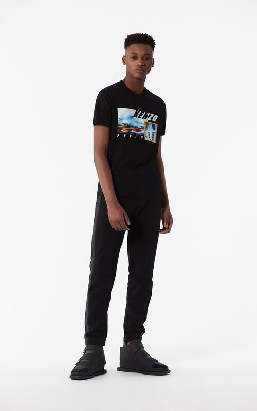 BLACK KENZO Landscape T-shirt for men