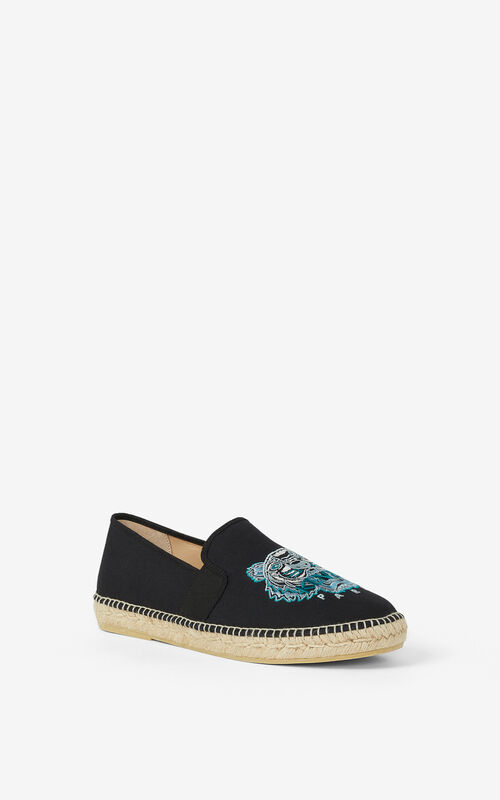 BLACK Tiger stretch canvas espadrilles for unisex KENZO