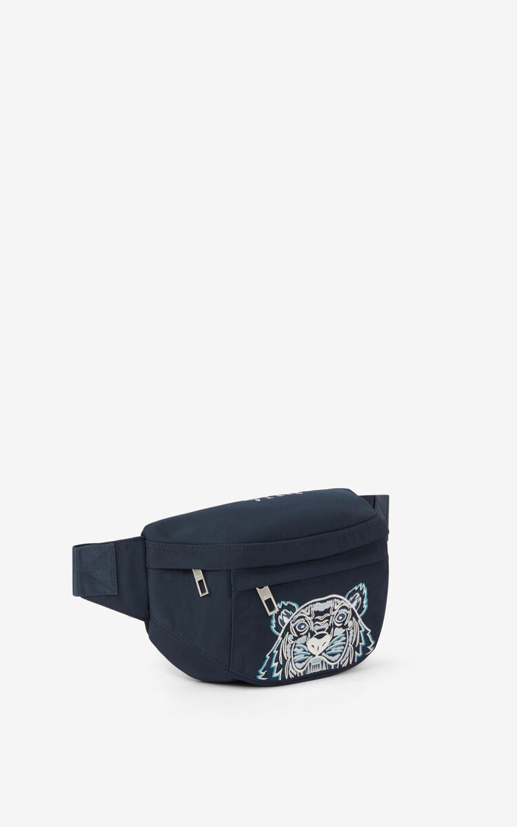 MIDNIGHT BLUE Canvas Kampus Tiger bumbag  for unisex KENZO