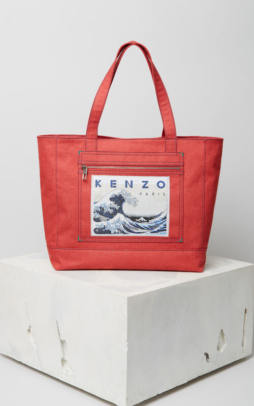 MEDIUM RED Denim 'Kanagawa Wave' Tote for unisex KENZO