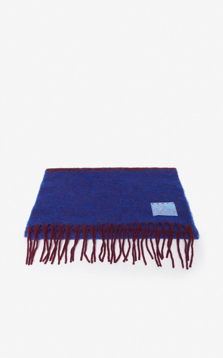 COBALT Striped fringed scarf for unisex KENZO