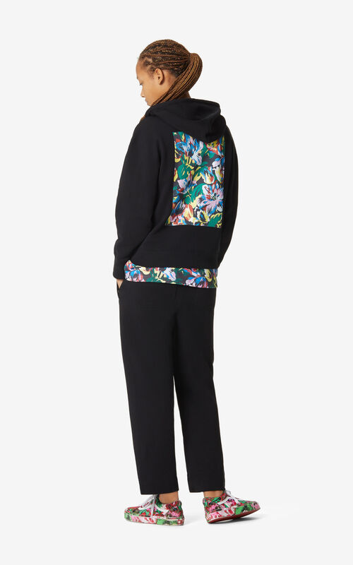 BLACK 'Tulipes' hoodie sweatshirt for women KENZO