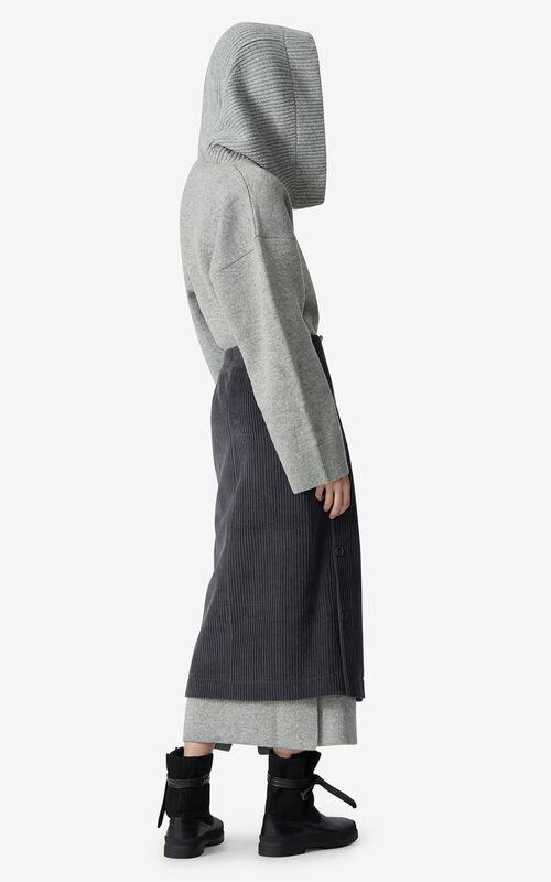 STONE GREY Corduroy wrap skirt for men KENZO