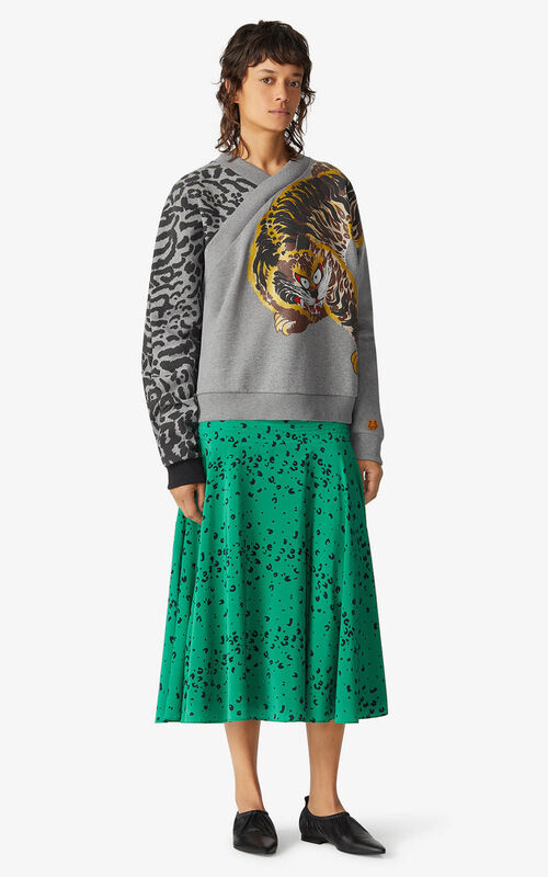 PEARL GREY KENZO x KANSAIYAMAMOTO 'Jungle Cat' sweatshirt for women