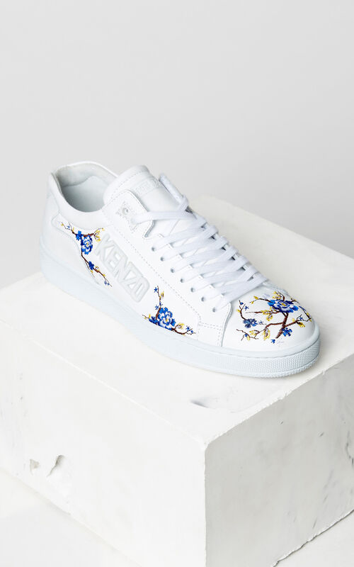 WHITE 'Cheongsam Flower' embroidered Tennix sneakers for women KENZO
