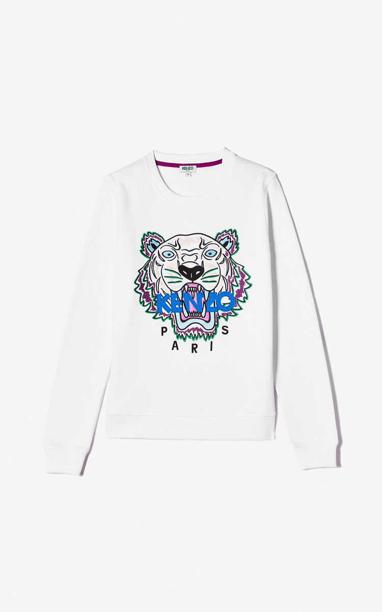 WHITE Tiger sweatshirt for women KENZO