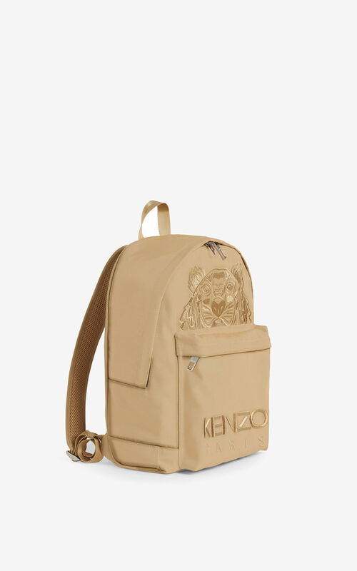 BEIGE Canvas Kampus Tiger backpack  for unisex KENZO