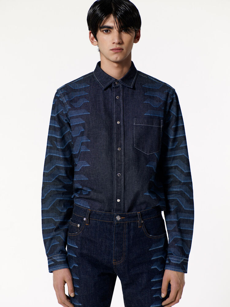 NAVY BLUE 'Geo Tiger' Shirt for men KENZO