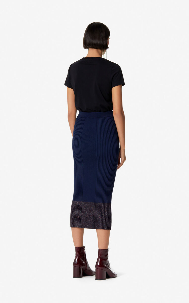 NAVY BLUE Long wool skirt for women KENZO