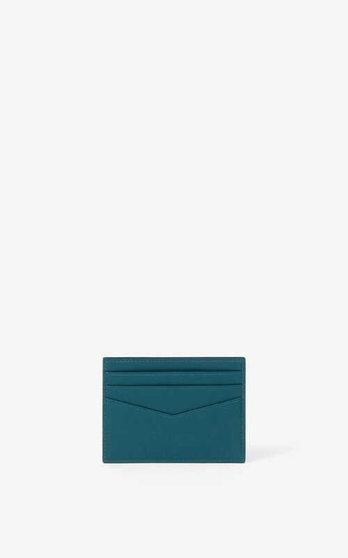 DUCK BLUE KENZO K leather card holder for men