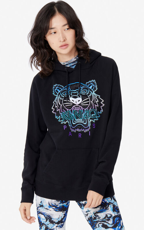 BLACK 'Holiday Capsule' hooded Tiger sweatshirt for women KENZO