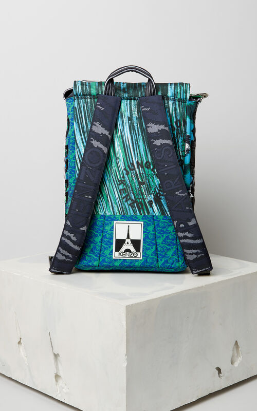 GRASS GREEN Multi Icons hiking backpack for women KENZO